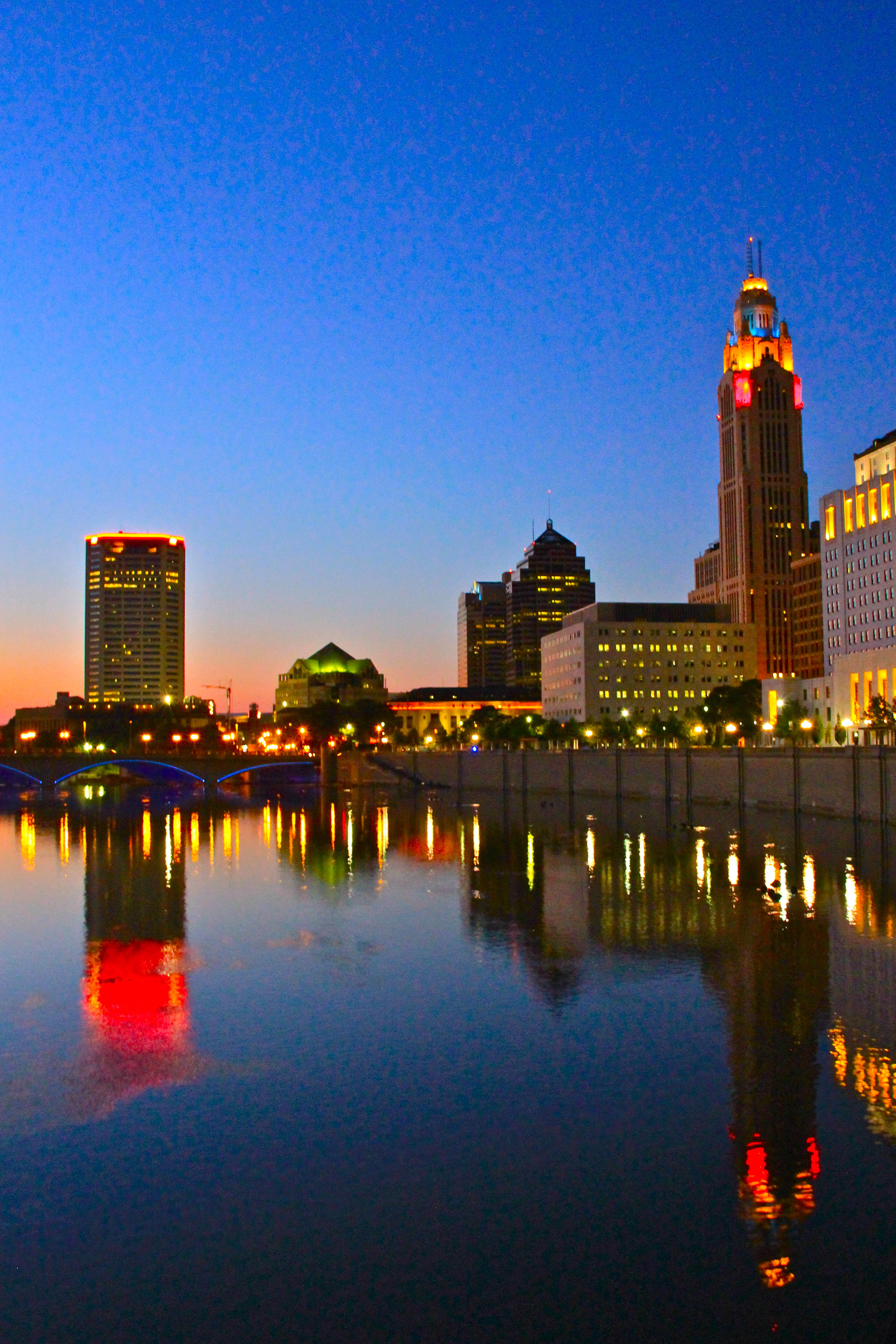 Dusk at Scioto Mile - girl about columbus