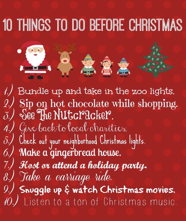 10 Things to do Before Christmas