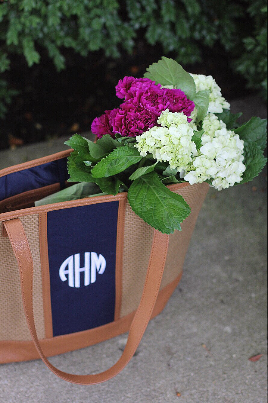 flowers and tote bag