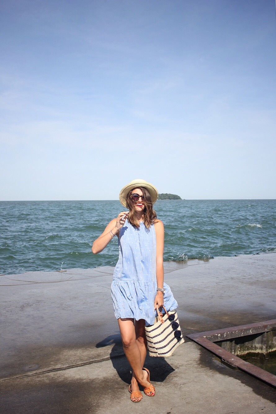 chambray blue dress