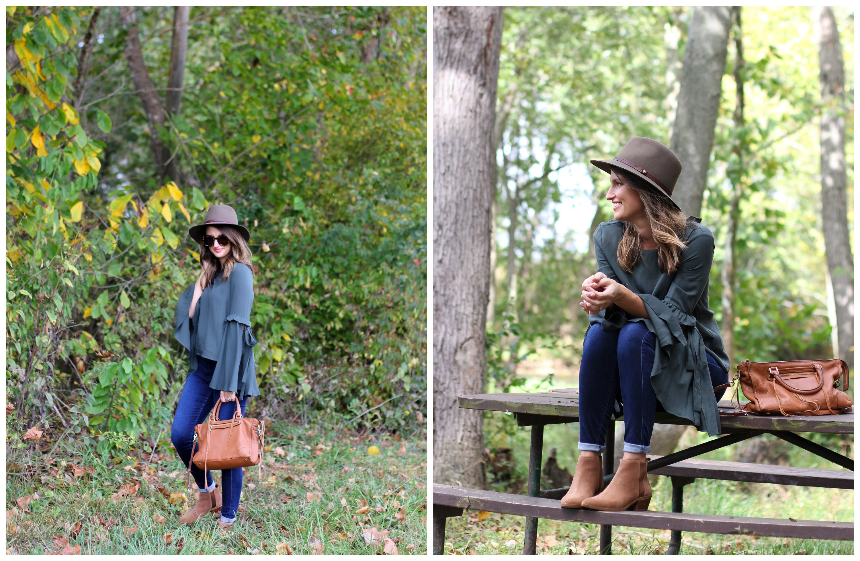 green bell sleeve top // girl about columbus