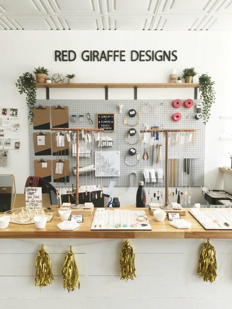 red giraffe designs german village