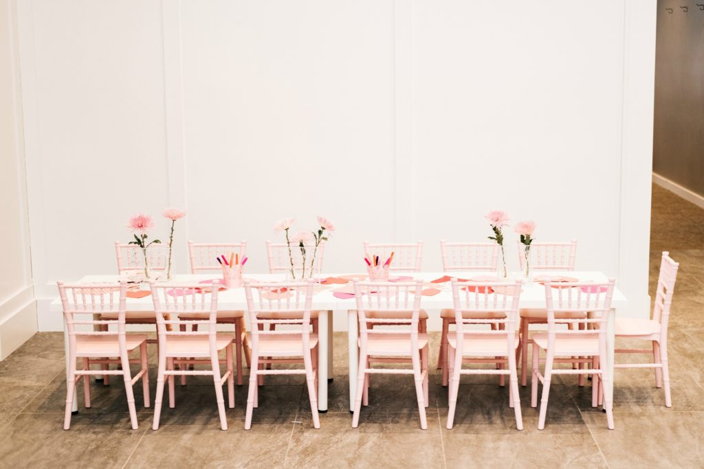 galentines day party chiavari chairs and table